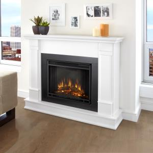 real-flame-cleaning-white-marble-fireplace